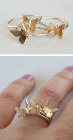 I love these butterfly ring . Cute Jewelry, Jewelry Box, Jewelry Rings, Silver Jewelry, Jewelry Accessories, Fashion Accessories, Jewelry Design, Fashion Jewelry, Jewelry Making