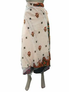 Amazon.com: Silk Wrap Skirt Vintage Beige Sari Reversible Wrapskirt Beach Skirt: Clothing