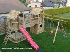 Backyard Swing Sets, Kids Backyard Playground, Playground Design, Backyard For Kids, Tree House Plans, Build A Playhouse, Play Yard, Kids Play Area, Outdoor Play