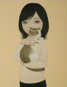 Painting by Hideaki Kawashima, 2010, Cat,  Acrylic on canvas. iL #Cat
