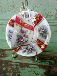 Vintage  Teacup and Saucer Burgundy Red Violet by Holliezhobbiez, $18.50