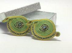 light green and yellow soutache hair barrette by AGDesignCreatif