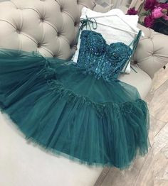 Green tulle lace short prom dress homecoming dress P3409 – shinydress