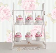 Delicado y original Stand para cupcakes con forma de Columpio realizado de…