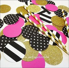 Decorate bachelorette parties and bridal showers with our Kate Spade Inspired jumbo size confetti. Black and white stripes and polka dots are accented with hot pink and gold glitter. Add an instant po