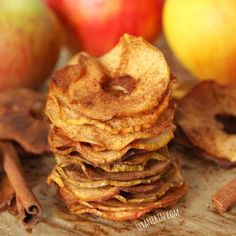Making these healthy apple chips costs a fraction of the store bought kind! You can use no sweetener at all but for a real treat, a little maple syrup adds an amazing touch. Naturally #glutenfree, #grainfree, #vegan and #dairyfree.