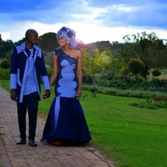 as able-bodied as abstract designs brought to life; Here's a appearance account of hottest and trendiest Shweshwe dresses This month. Sotho Traditional Dresses, South African Traditional Dresses, Traditional Wedding Attire, African Wedding Attire, African Attire, African Wear, African Dress, Couples African Outfits, Couple Outfits