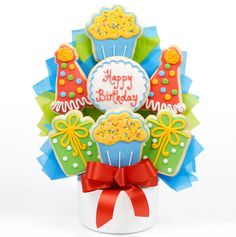 Buy this Birthday Cookie Arrangement from All About Gifts and Baskets today!
