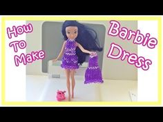 Barbie: How to Make a Rainbow Loom Charms Wearable Dress for your Barbie (loom bands, DIY Mommy)