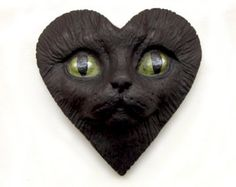 Yellow ab Cabochons  | Black Cat Heart Face Cab Polymer Cl ay Cabochon Valentine Kitty Kitten ...