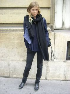 Clemence Poesy navy & blues with black bag & boots