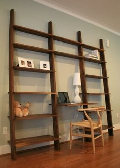 Leaning Bookshelf with Desk