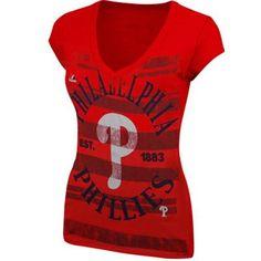 Majestic Philadelphia Phillies Ladies Emotional Reaction T-Shirt - Red
