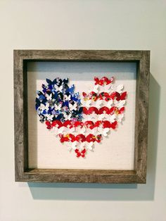 """American Flag 3D Butterfly Art, Wall Art, Japanese Yuzen Washi,Heart shaped, Home Decor, Origami, Unique gift, 10""""x10""""x2"""", Free Shipping Japanese Origami, Framed Art, Wall Art, Butterfly Art, Paper Dimensions, Origami Paper, Rice Paper, Washi, American Flag"""