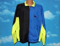 Nautica Competition Blue Black Neon Yellow Windbreaker Jacket Large Vintage 1990s by nodemo Yellow Windbreaker, Windbreaker Jacket, Bomber Jacket, Black Neon, Neon Yellow, Blue, 1990s, Competition, Rain Jacket