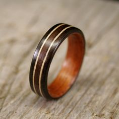 Ebony Lined With Mahogany With Two Maple Inlays and Centered Indian Rosewood Inlay Bentwood Ring