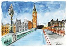 Big Ben - London Big Ben London, Watercolor, Building, Shop, Travel, Saint George, Pen And Wash, London, Watercolor Painting