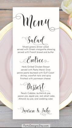 Calligraphy MENU - Printable Wedding menu cards - Rustic menu. SHOP now at FortuDesigns.Etsy.com CLICK to find out more =>>>> #weddingmenu #calligraphymenu #menu