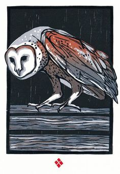Barn Owl woodblock print by Betsy Bowen
