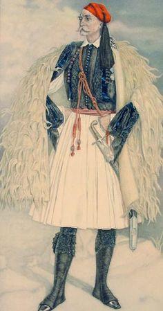 Greek Town Costume of Central Greece including Fustanella - Greek Costume… Greek Traditional Dress, Traditional Fashion, Traditional Outfits, Ancient Greek Costumes, Greek Independence, Greek Town, Greek Warrior, Folk Costume, Men's Costumes