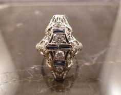 Antique Art Deco Diamond Sapphire Ring 18k White Gold 1920's Cocktail