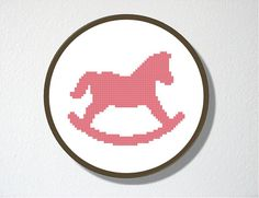 Counted Cross Stitch Pattern PDF. Instant Download. Rocking Horse Silhouette…