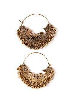 Etched Ball-Fringe Hoop Earrings