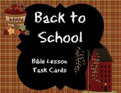 Back to School Bible Lesson Task Cards