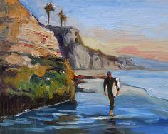 Surfer Solana Beach, California Painting by Artist Wade Koniakowsky