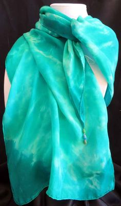 Silk scarf - watercolor turquoise