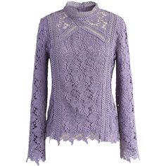 Chicwish Surrounded By Roses Crochet Top in Purple ($42) ❤ liked on Polyvore featuring tops, blouses, purple, purple blouse, purple long sleeve blouse, high neck top, long sleeve crochet top and high neck blouse
