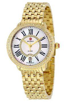 Michele Serein Diamond Gold-Tone Ladies Watch MWW21B000031 Tag Heuer Aquaracer Ladies, Discount Watches, Two Tones, Gold Watch, White Ceramics, Bracelet Watch, Diamond, Lady, Accessories