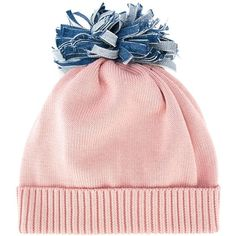 Federica Moretti 'Denim Pom Pom' beanie ($72) ❤ liked on Polyvore featuring accessories, hats, beanie, pink, beanie cap, denim hats, pom pom beanie, pom pom hat and pom beanie