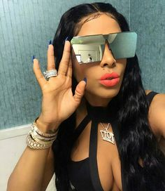 See The Flaming Hot New Wig Keyshia Ka'oir Just Debuted Sunglasses Sale, Round Sunglasses, Mirrored Sunglasses, Sunglasses Women, Black Sunglasses, Sunglasses For Your Face Shape, Keyshia Ka Oir, Ray Bans, Dior Lipstick