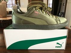 f8230ad06e7 Puma Clyde Satin JR 367469-03 Green Sneakers Casual Girls NEW IN BOX   fashion