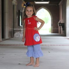 Red Shoulder Tie Baseball Capri Set... This will be perfect for MK to go to Jeff's sb games next year.