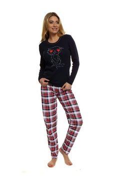 VIVIEN Piżamka z sówką i serduszkami, czerń #piżama #sówka #serduszka #czarny #pajama #warm #owl #hearts