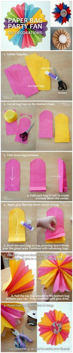 DIY Paper Bag Party Fans - DIY Party Decorations - so clever!
