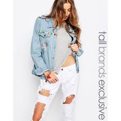 Liquor & Poker Tall Boyfriend Denim Jacket With Heavy Embroidery ($42) ❤ liked on Polyvore featuring outerwear, jackets, blue, boyfriend jean jacket, blue denim jacket, tall denim jacket, jean jacket and blue jackets