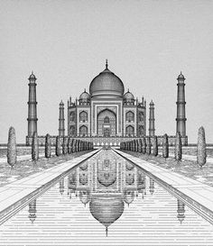 The Taj, Agra on Behance – Architektur Pencil Sketches Architecture, Pencil Sketches Landscape, Architecture Drawing Sketchbooks, Art Drawings Sketches Simple, Landscape Drawings, Pencil Art Drawings, Architecture Drawing Plan, Perspective Drawing Lessons, Perspective Art