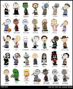 An Illustration Reimagining Charlie Brown and the 'Peanuts' Gang as Iconic Characters From Horror Movies Run for your life, Charlie B by CitizenWolfie Horror Villains, Horror Movie Characters, Iconic Characters, Iconic Movies, Horror Movie Tattoos, Classic Horror Movies, Arte Horror, Horror Art, Charlie Brown Characters