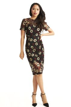 Rumi Floral Embroidered Mesh Midi Dress BLACK COSTUME main