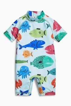Kopen Blauw zonbeschermend pak met vissenprint (3 mnd-6 jr) from Next Netherlands
