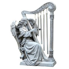 Angel With Harp Chimes Outdoor Statue - JCPenney Tattoos Skull, Foot Tattoos, Flower Tattoos, Cat Tattoo, Sleeve Tattoos, Saraswati Murti, Wood Sculpture, Sculptures, Great Photos
