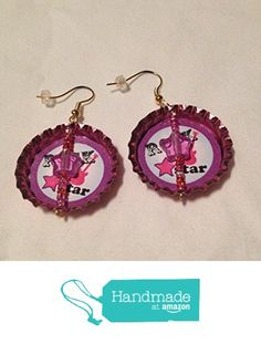 Light Shiny Pink Upcycled Bottlecap Earrings with Stars from Southern Women…