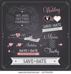 Chalkboard style wedding design and decorative elements, vintage banner, ribbon, labels, frames, badge, stickers. Vector love element.  by k...
