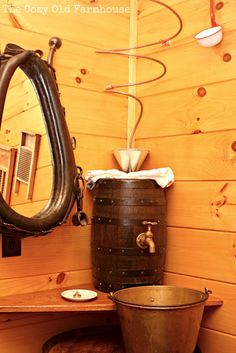 """The Cozy Old """"Farmhouse"""": Cutest {Junkiest} Vintage Cabin...Ever! I love this quirky sink idea."""