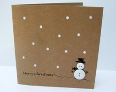 Christmas Card - Button Snowman with Paper Cut Snow - Paper Handmade Greeting Card - Holiday Card - Card Set - Pack