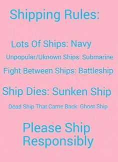 Shipping Rules for Fandoms. This is absolutely fantastic!