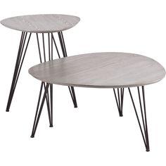 Bannock Table Set Matte Gray (Set of 2)